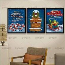 Рождественская Картина на холсте с Санта Клаусом и рождественской