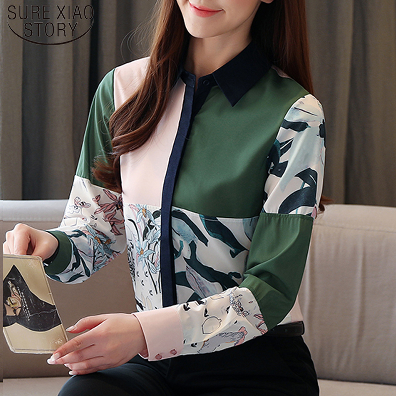 Casual New Vintage Silk Shirt Women Long Sleeve Print Floral Women Blouse Tops Cardigan Ladies Shirts Camisas Mujer 8386 50