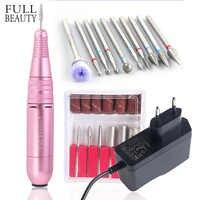 1 conjunto de 25000rpm manicure máquina elétrica caneta broca do prego portable12v rosa handpiece pedicure fresa kits arquivo do prego chmt05