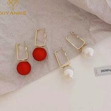 XIYANIKE – boucles d'oreilles rectangulaires à crochet pour femmes, bijoux en or creux, Simple, géométrique, blanc, rouge, Champagne, perle