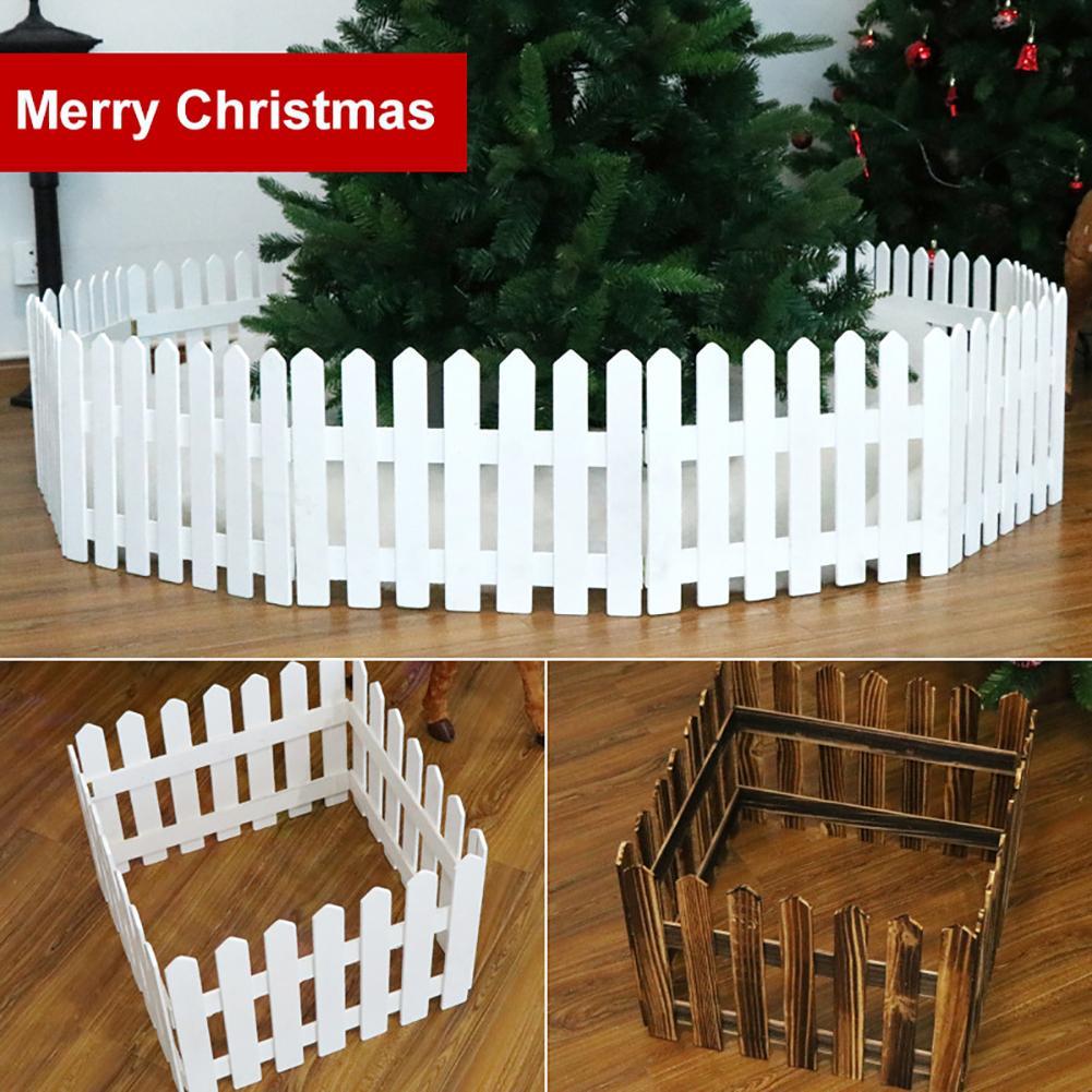 160cm Wooden Fence Christmas Tree Ornament Holiday Showcase Glass Props Decor Christmas Tree Fence Workmanship Christmas Decor