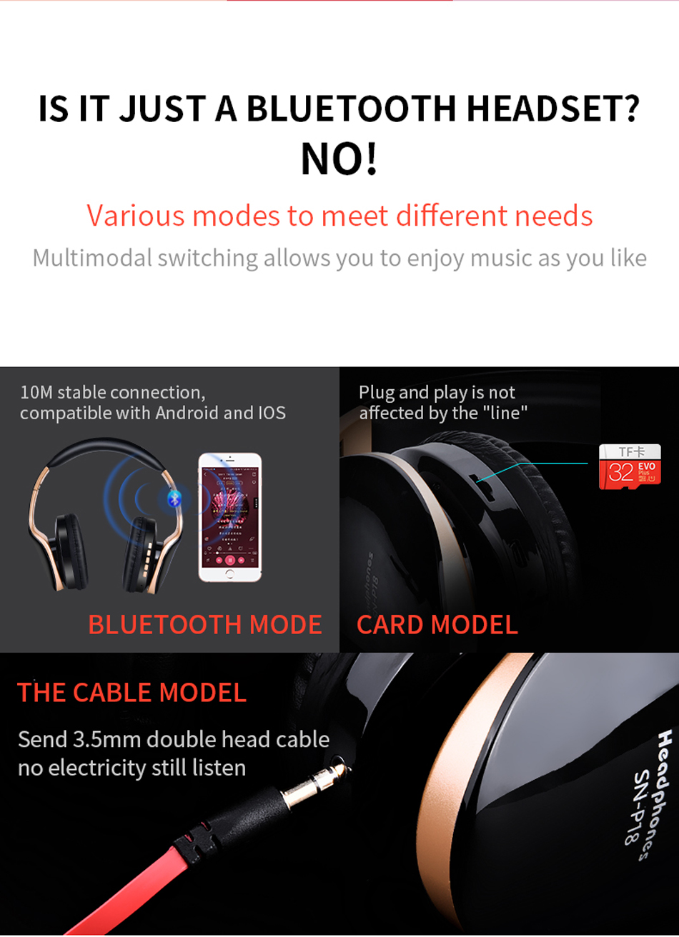Bluetooth Headphone Foldable Bluetooth Headset Wireless Headphones Portable Bluetooth Earphone With Mic for Phone Xiaomi iPhone