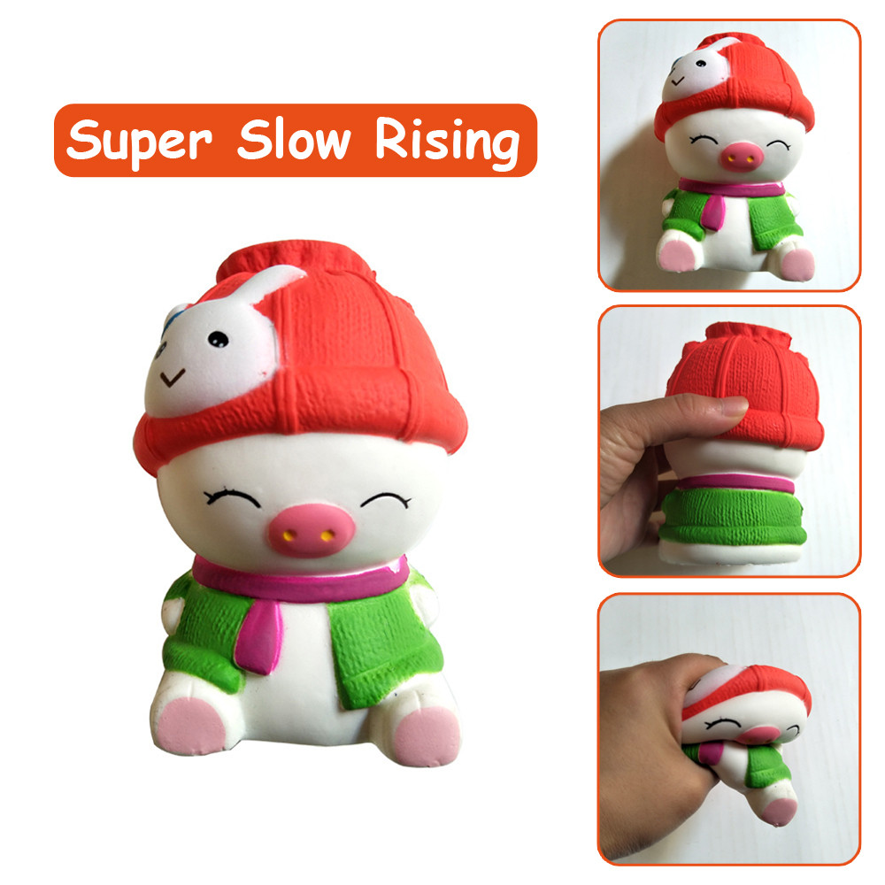 Mini Slow Stretch Smiley Emo Toy Adorable Pig Slow Rising Cream Scented Stress Relief Toys For Children Kids Gift L0116