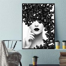 Nordic quote poster black white butterfly woman wall art canvas