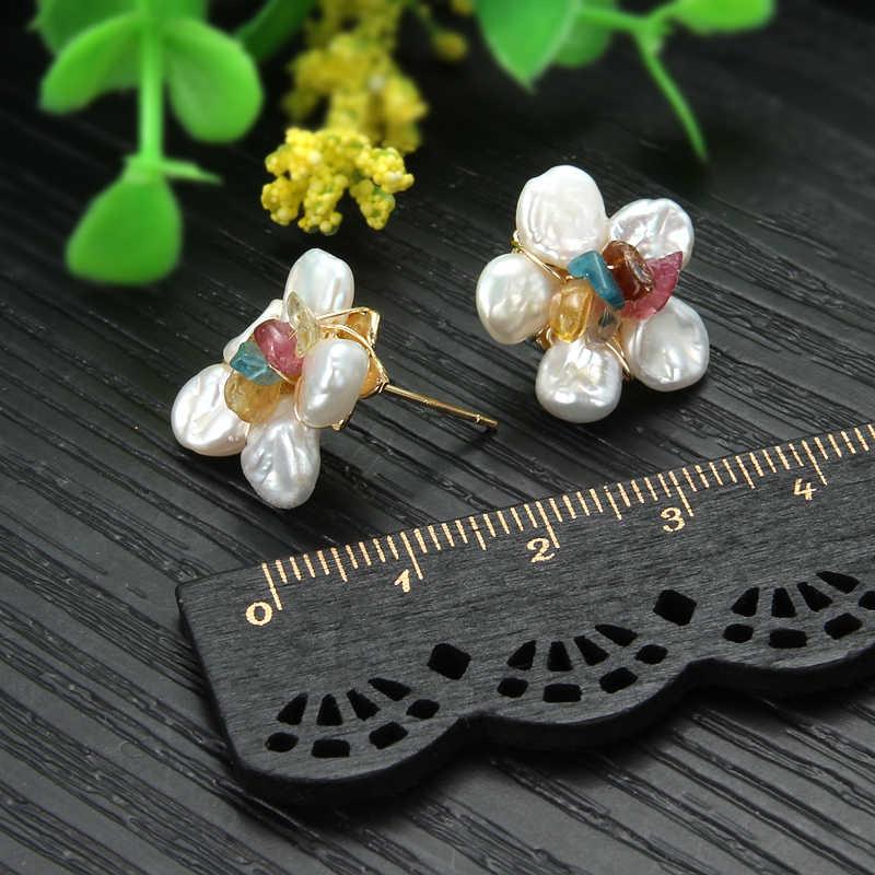 SEVEN GIRL Fashion Stud earring Baroque Freshwater pearl earrings jewelry handmade earrings for women Party wedding