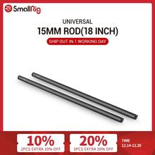 SmallRig Black Aluminum Alloy 15mm Rods 18 Inches Long with M12 Female Thread Includes M12 Rod Caps (Pair Pack) 1055