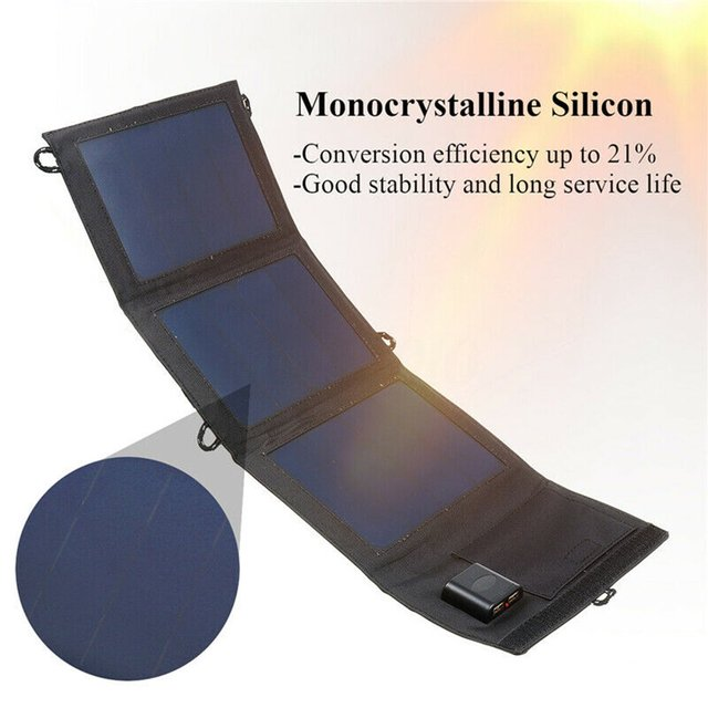 20W Dual USB Solar Panel Foldable Power Bank Panel Camping Hiking Phone Charger Charger Panel Power Pack 3