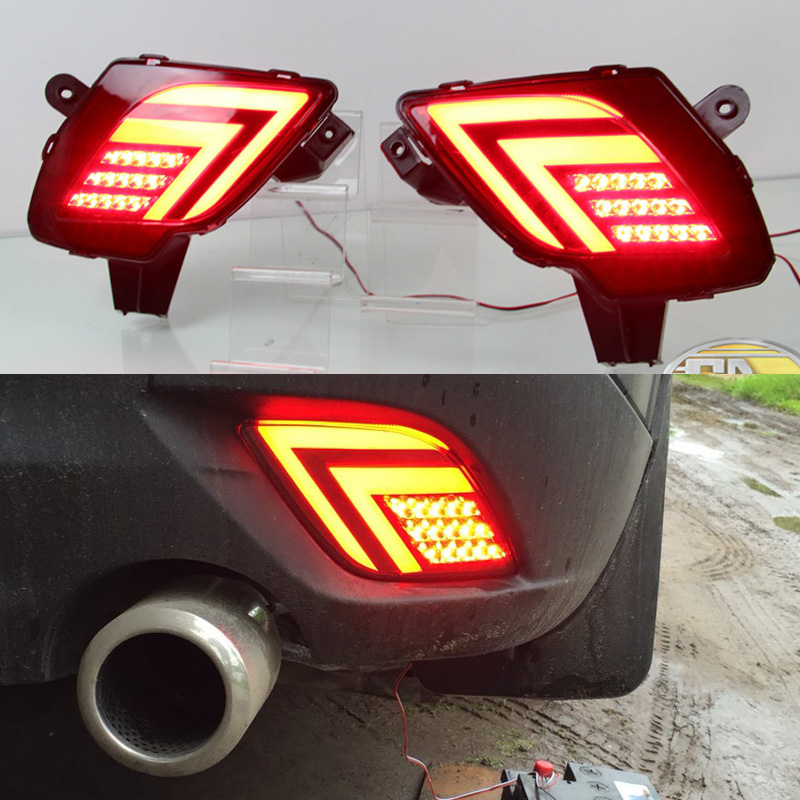 2PCS For Mazda CX-5 CX5 2013 - 2016 Multi-function Car LED Tail Light Rear Bumper Light Rear Fog Lamp Brake Light Reflector