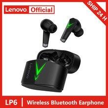 Lenovo lp6 tws gaming fone de ouvido sem fio bluetooth v5.0 jogo baixa latência esportes fone com microfone 3d estéreo baixo fones