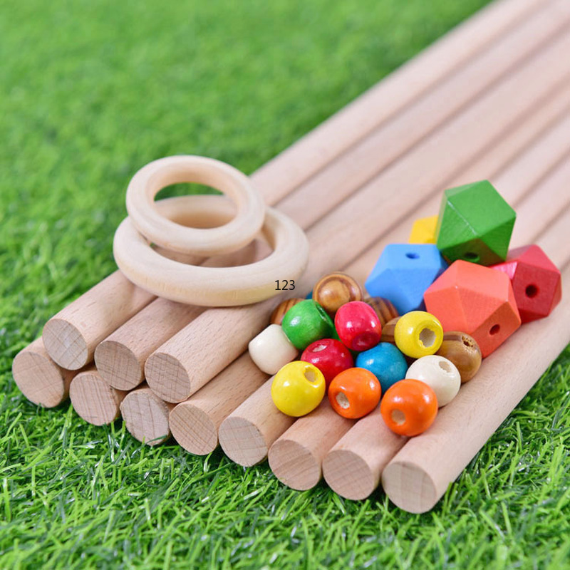 Natural Wood Teething Beads Wooden Ring Stick Children Kids DIY Wooden Jewelry Making Crafts Dreamcatcher Macrame Accessories