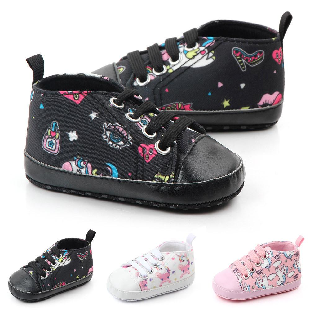 Unisex Baby Soft Rubber Sole Canvas Shoes Cute Cartoon Printing For Infant Prewalker Shoes