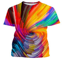 Men's 3D printed T-shirt personality gradient color T-shirt short-sleeved casual T-shirt 2021 new summer fashion T-shirt