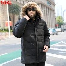 לבן ברווז למטה גברים של בתוספת דשן XL למטה מעיל 8xl למטה מעיל גדול במיוחד ארוך פרווה צווארון למטה parka גברים