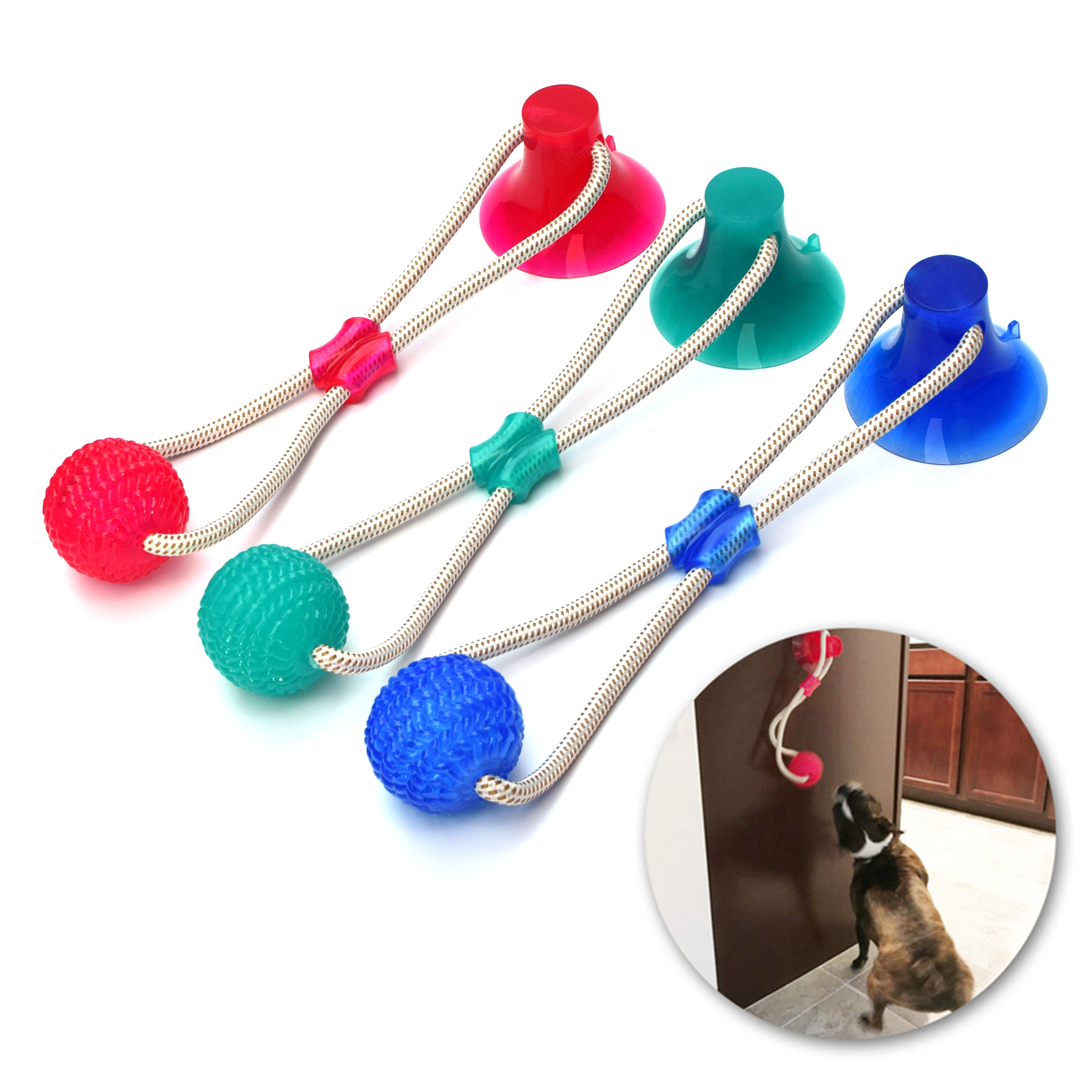 Multifunction Pet Molar Bite Dog Toys Rubber Chew Ball Cleaning Teeth Safe Elasticity TPR Soft Puppy Suction Cup Biting Dog Toy(China)