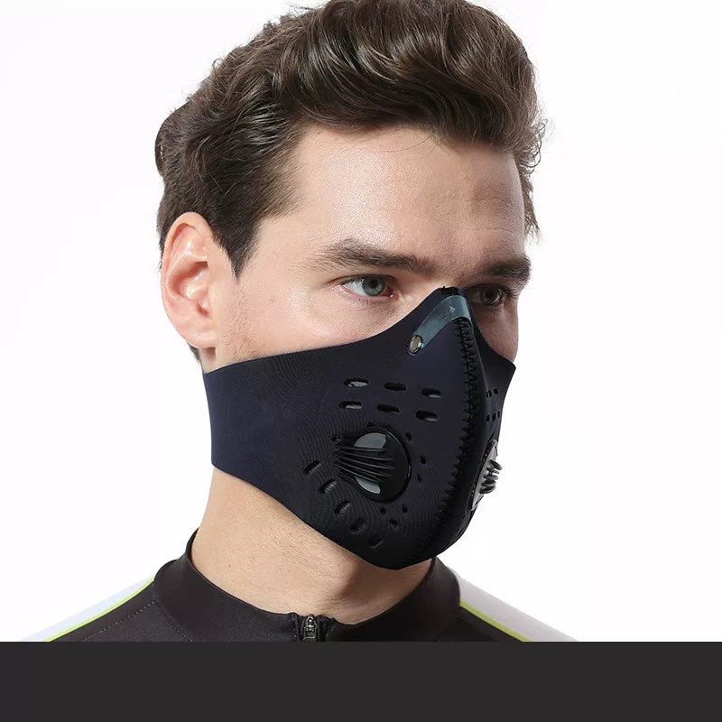 5 Layers Black Masks Unisex Smog-proof Cool Anti-dust Women Men Warm Bicycle Sport Outdoor Adjustable Velcro Face Mouth Mask