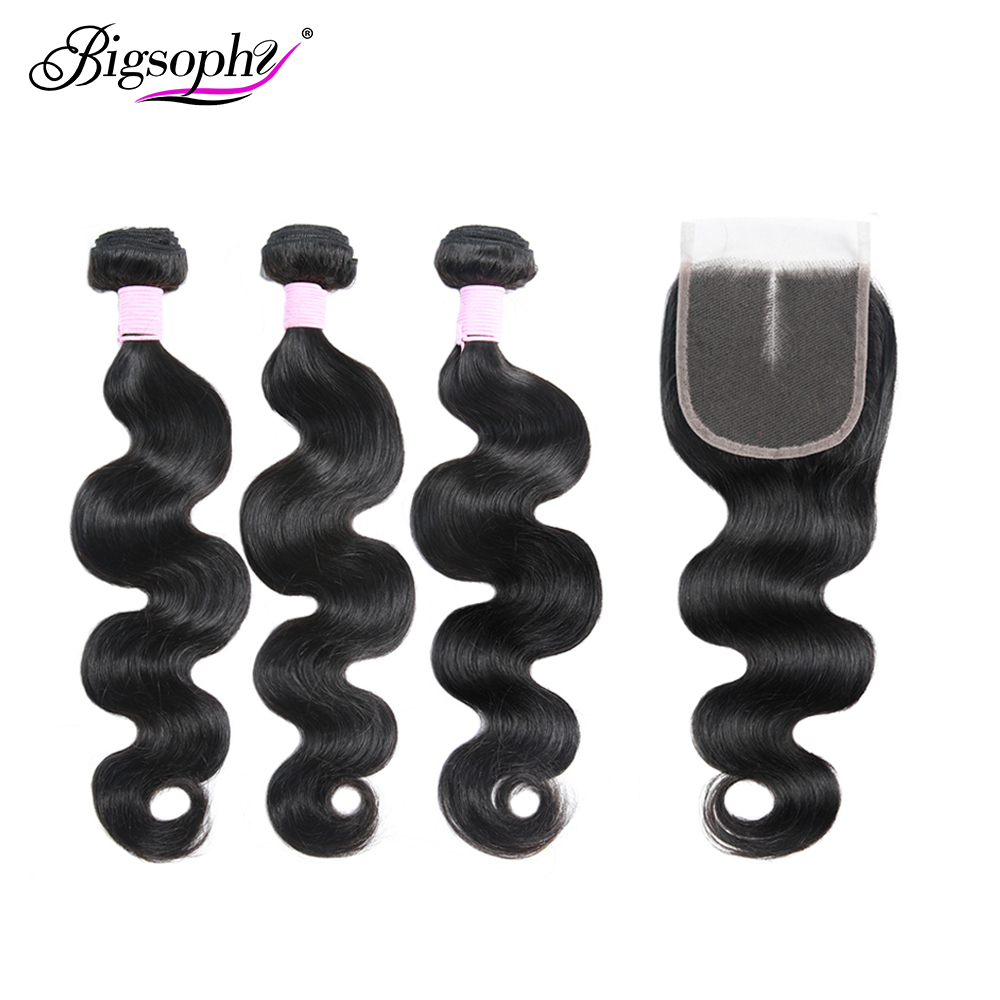 Bigsophy Body Wave Brazilian Hair Weave Bundles with 4x4 Closure 100% Human Hair Extensien 3Bundles with Lace Closure Remy hair
