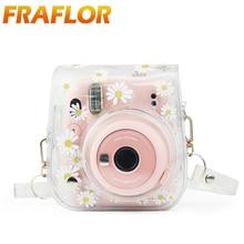 Dla aparat Polaroid Fuji Fujifilm Instax Mini 11/9/8 przezroczyste suszone kwiaty stokrotki pcv torba na aparat skrzynki pokrywa pokrowiec ochronny