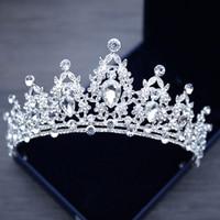 Корейская элегантная Хрустальная диадема принцессы, повязка в виде короны, большой горный хрусталь, корона для выпускного вечера, аксессуа...