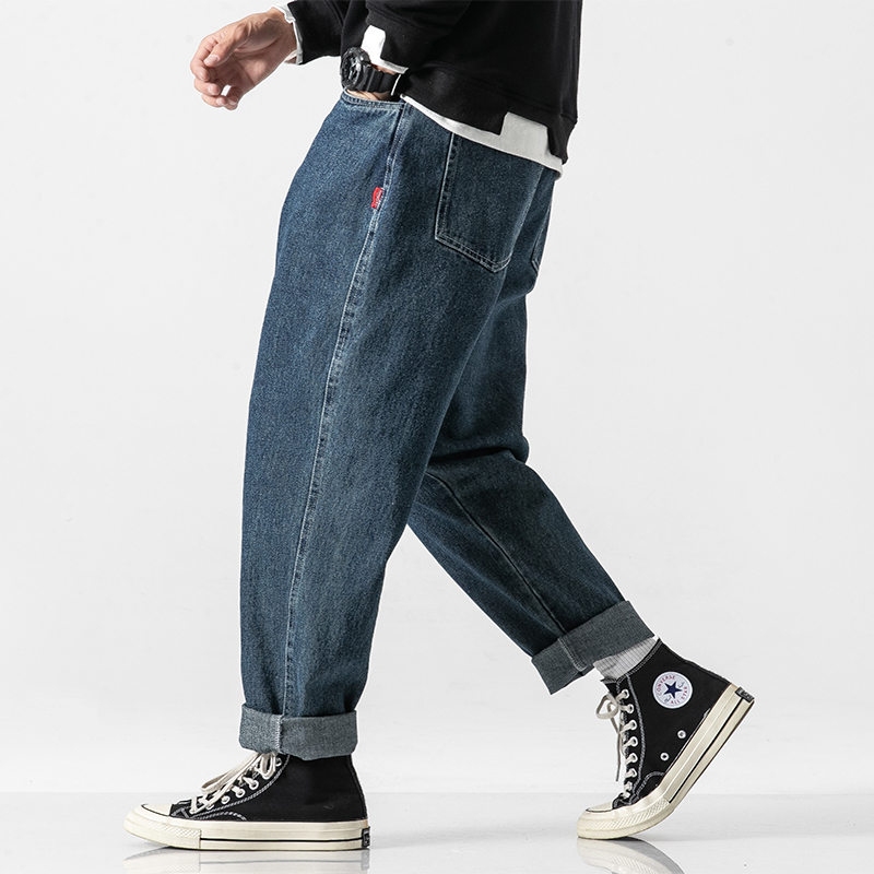 Men Vintage Jeans Casual Straight Jeans Male Streetwear Hip Hop Loose Wide Leg Denim Harem Trouser Japan Cargo Pants
