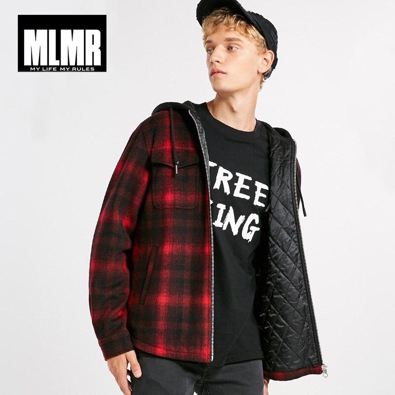 Mens Short Hooded Plaids Loose Wool Cotton Coat  |218327524