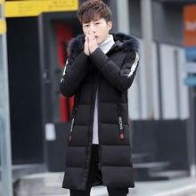Мужская Повседневная зимняя длинная куртка Мужская мода ветровка меховая парка куртки с капюшоном одежда