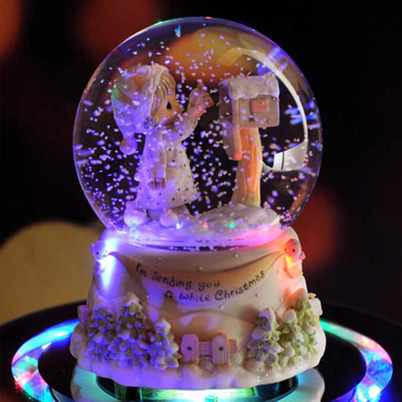נסיכת מוסיקה כדור שלג תיבת גביש מוסיקת כדור תיבת קרפט בית תפאורה האהבה/חתונה מתנת חג המולד של את המתנה הטובה ביותר עבור ילדה