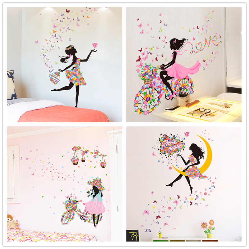 [SHIJUEHEZI] Fairy Girl Wall Stickers DIY Butterflies Mural Decals For Kids Room Baby Bedroom Dormitory Decoration Children Gift