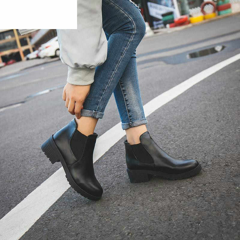 New Hot Style Fashion Women Boots Round Head Thick Bottom Pu Leather Waterproof Woman Martin Boots Ankle Spring/autumn 2019