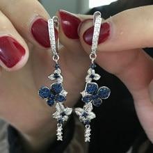Bleu et noir fleur Design argent Zircon boucles d'oreilles pour les femmes à la main émail boucles d'oreilles mode bijoux de mariage