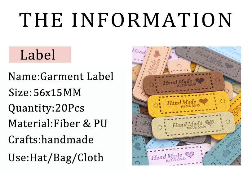 24pcs Handbuch PU Leder Liebe Etiketten Clothes Jeans Bags Shoes Tags DIY Nähen