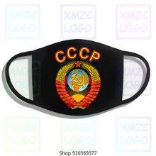Russo gráfico 100% algodão vermelho atmungsakative com urss emblema e hino impressão bandana lenço máscara feminino