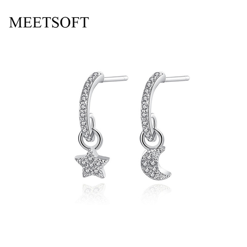 MEETSOFT Silver Plated Prevent Allergy Crysal Star Moon Asymmetry Drop Earrings for Women Retro Round Hollow Out Jewelry Gift