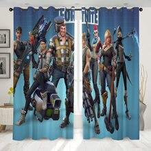 Fortnite janela cortina blackout gancho up tipo cortinas para o quarto sala de estar jogo 3d impresso curtins para sala estar em casa 2 pçs