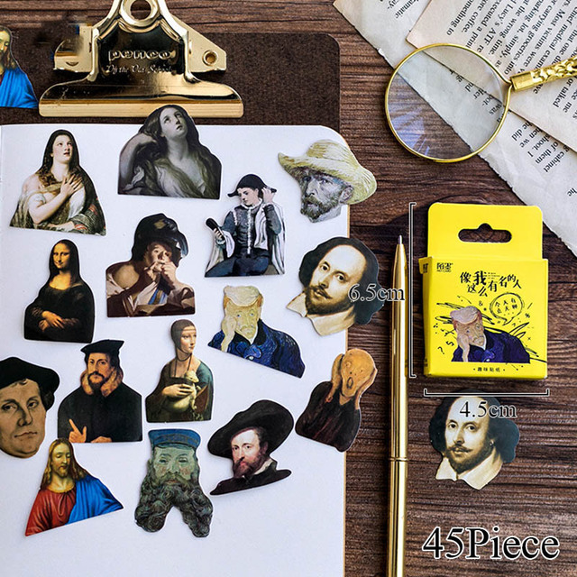 45pcs/Box Famous People Mini Sticker Stranger Things Label Laptop Stickers For Kids Decoration DIY Scrapbooking Classic Toys