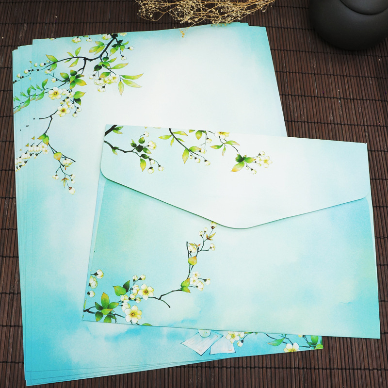 Sui Yue Fang Chinese-style Retro Writing Paper Envelop Package Fountain Pen Lian Zi Zhi A4 Writing Paper Envelope Antique Style