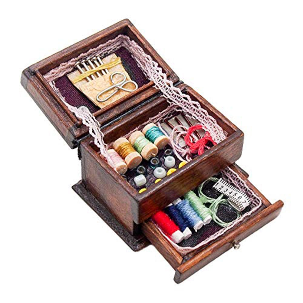 1:12 Dollhouse Miniature Furniture Mini Sewing Machine With Thread For Wooden Dollhouse Furniture Doll House Accessories