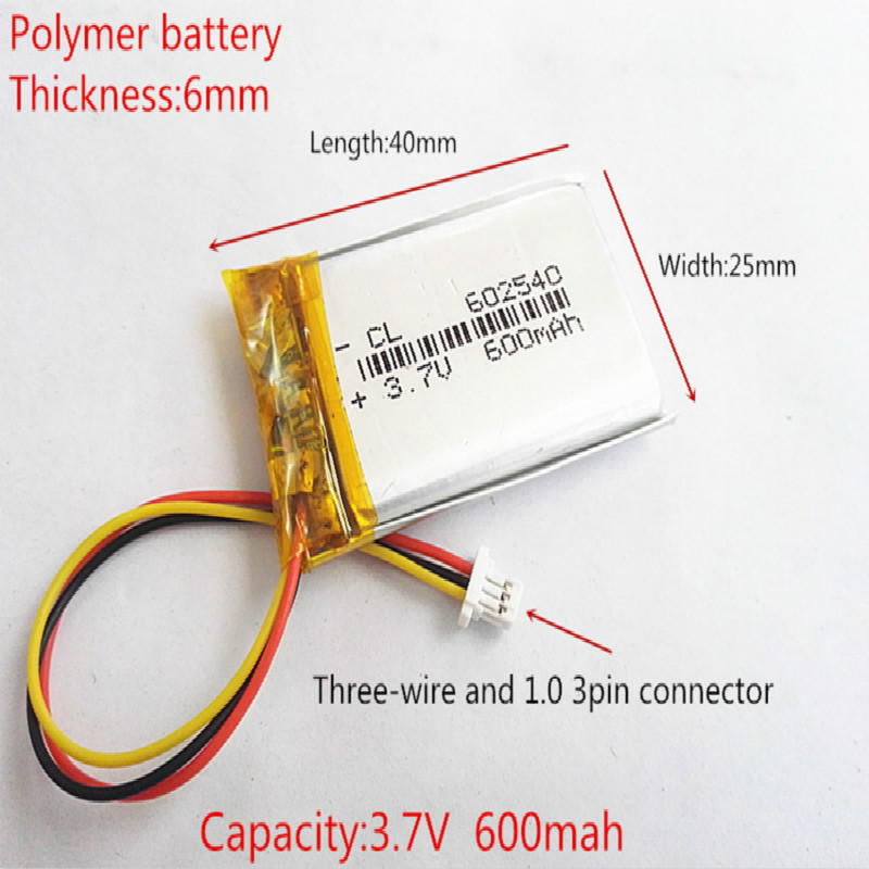 <font><b>602540</b></font> 3.7V 2.2wh 600mAh Rechargeable Li-Polymer Li-ion <font><b>Battery</b></font> For tachograph mp3MP4 GPS papago DVR 358 062540 image