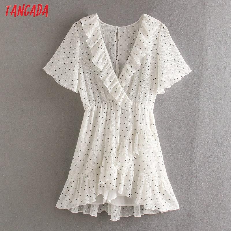 Tangada 2020 Fashion Women Dots Print Summer Playsuit Short Sleeve Vintage Female Ruffles Beach Jumpsuit JE40