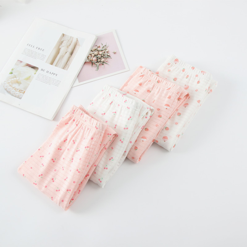 A Class Childrenswear Girls Tracksuit Pure Cotton Pajamas Children Cherry Cake Printed Pants Baby