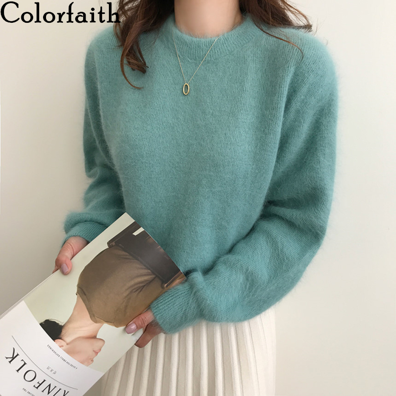 Colorfaith 2019 New Autumn Winter Women Sweaters Pullovers Minimalist Weed Knitted Elegant Casual 100% Nylon Ladies Tops SW7404