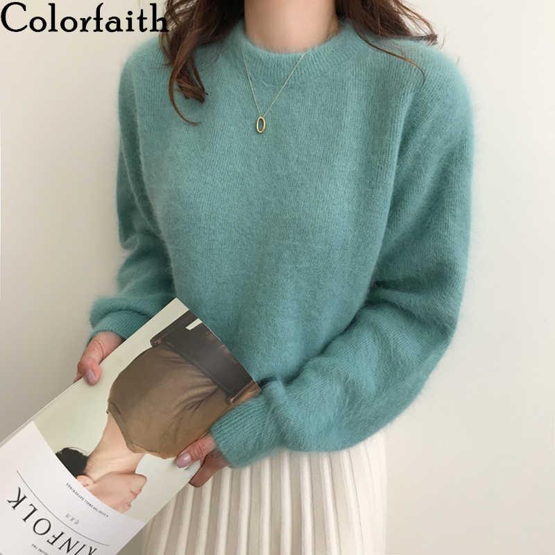 Colorfaith, новинка 2019, Осень-зима, женские свитера, пуловеры, минималистичные, вязанные, элегантные, повседневные, 100% нейлон, женские топы SW7404