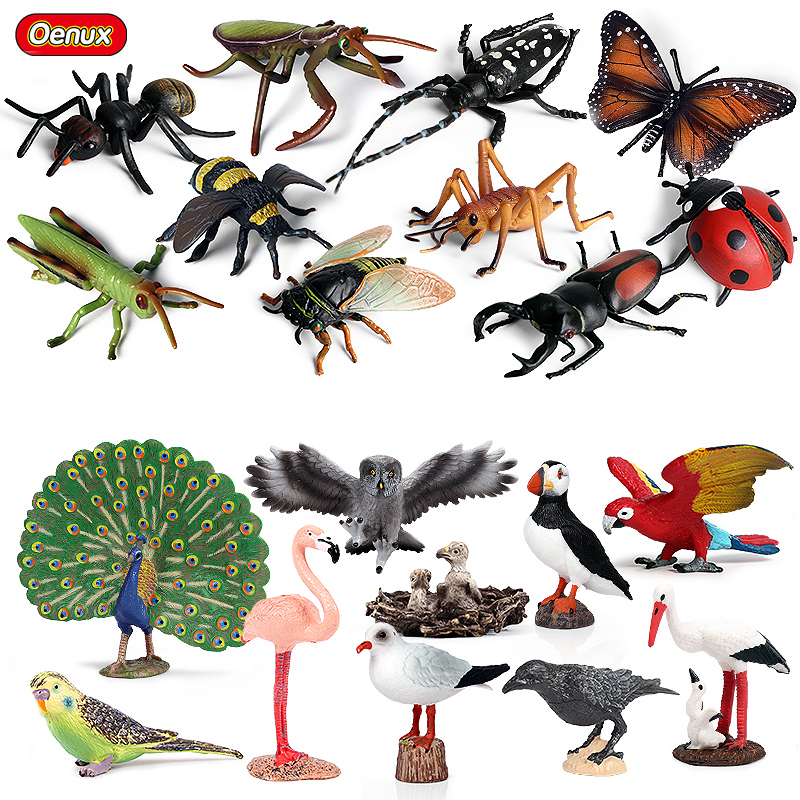 Oenux Bird Animal Flamingos Parrot Peacock Owl Model Action Figures Insect Bee Butterfly Mantis PVC Miniature Education Kids Toy