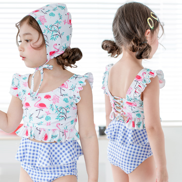 Chinlon Cute Children's Swimsuit Porous Culottes Girls Swimsuit Ultra-stretch Comfortable Breathable Hot Spring Bathing Suit
