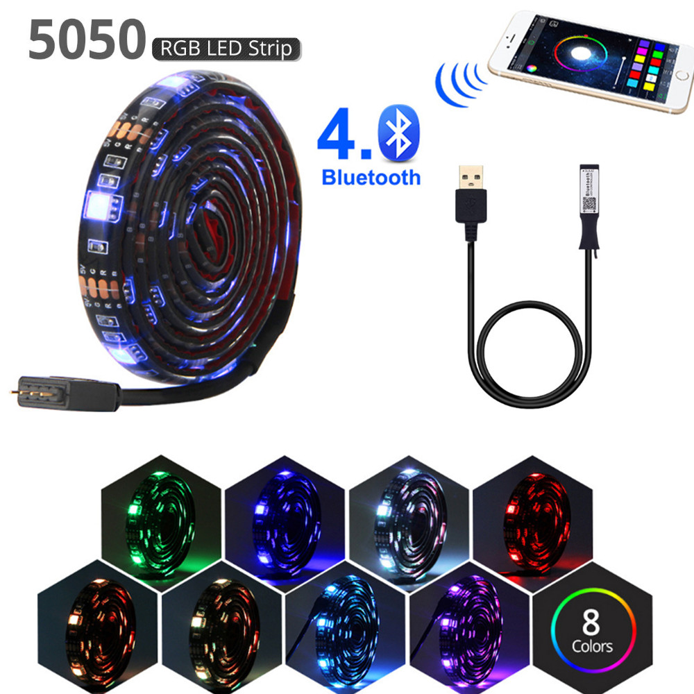 bluetooth usb led strip 5v rgb flexible led light 1M 2M 3M 5M SMD 5050 for HDTV TV backlight lights strips waterproof neon lamp(China)
