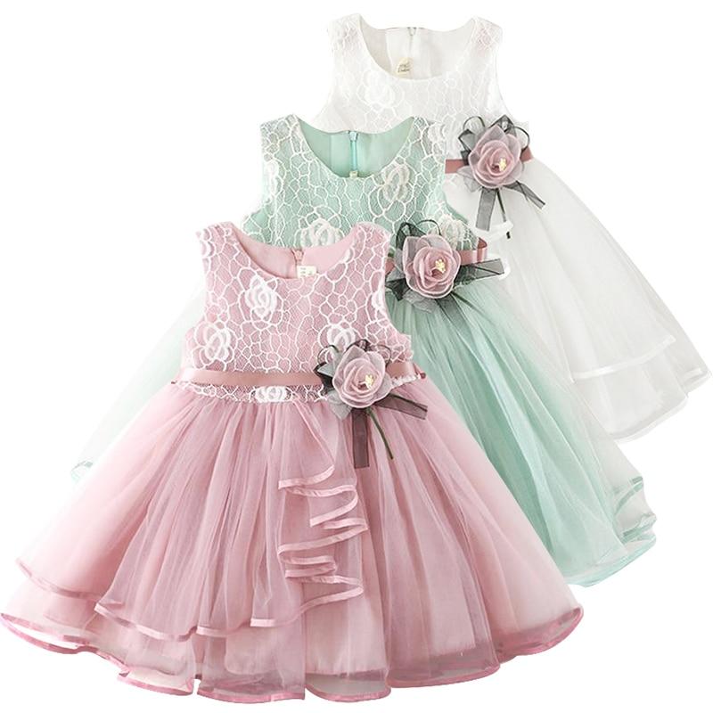 Sukienki dla dzieci 2020 dzieci dziewczyna kwiat szyfonowa suknia haft koronki sukienka do chrztu dziewczyna puszyste ciasto Smash odzież