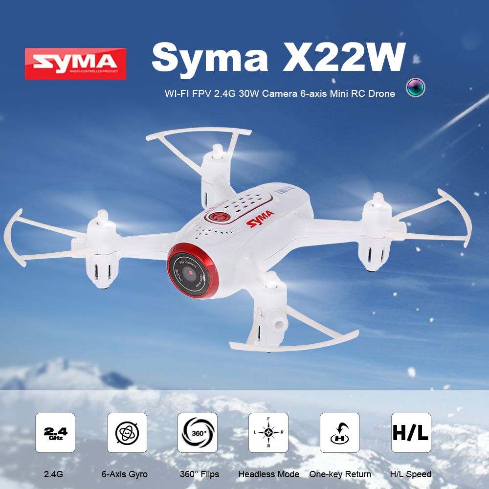 Syma X22W Wi-Fi FPV 0.3MP Camera Drone Selfie Mini Drone 2.4G 4CH 6-Axis Aircraft Altitude Hold RC Quadcopter RTF Dron