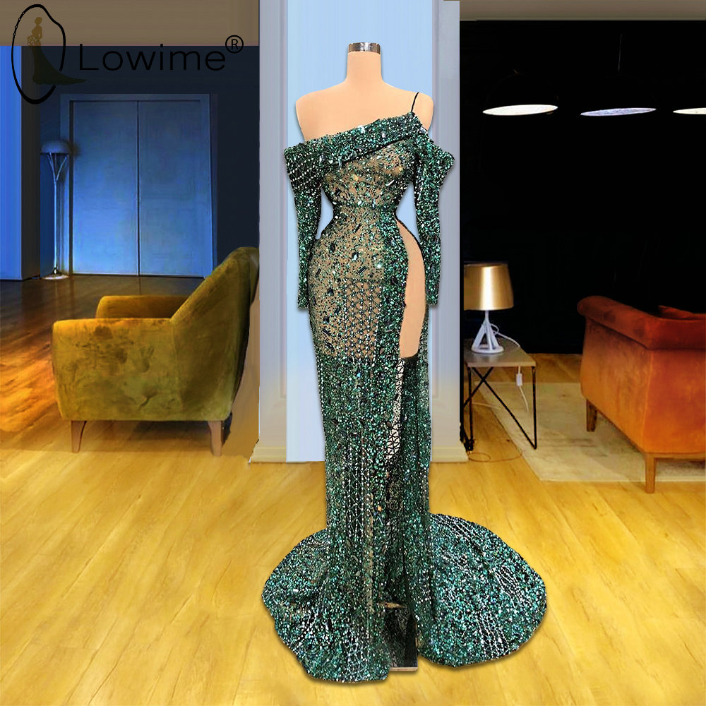 Arabic Long Sleeve Beading Mermaid Evening Dresses 2020 Sheer Sexy Split Formal Women Dresses Robe De Soiree Prom Party Gowns