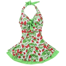 Women Halter Sexy Strawberry Print Bow One Piece Dress Swimsuits Ladies Cute Bathing Suits Swimwear green-XL