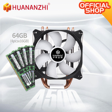 HUANANZHI A500 4 Copper Heat Pipe LED CPU Cooler Cooling Fan Radiator Dual Fan Heatsink with 4*16GB DDR4 RECC combo kit set