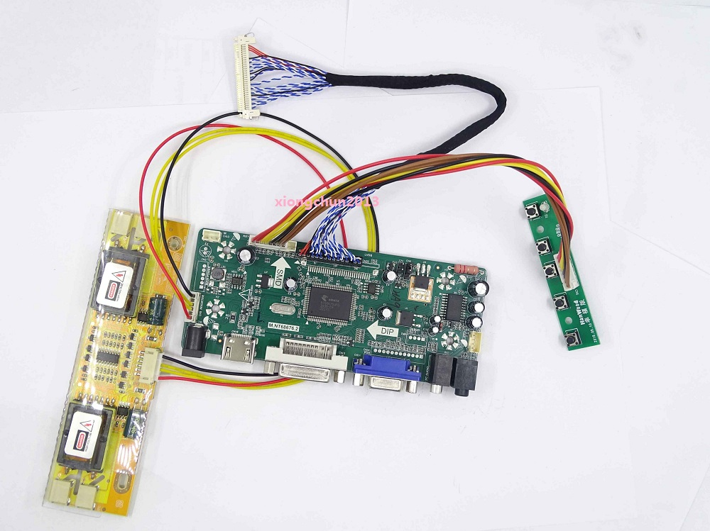 M.NT68676 Kit For MT190AW01 DIY LVDS 4 Lamps HDMI DVI VGA Controller Driver Board 19